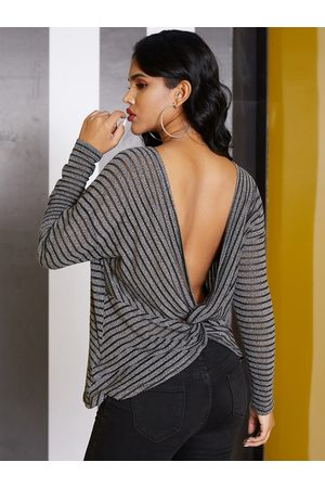 YOINS Black Backless Design Striped Long Sleeves Knit Tee