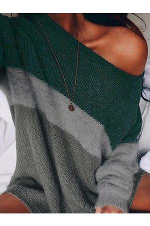 YOINS Color Block One Shoulder Knit Top