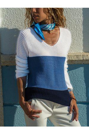 YOINS Color Blocking V-neck Sweater