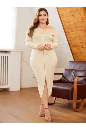 YOINS Plus Size Split Design Off The Shoulder Dress