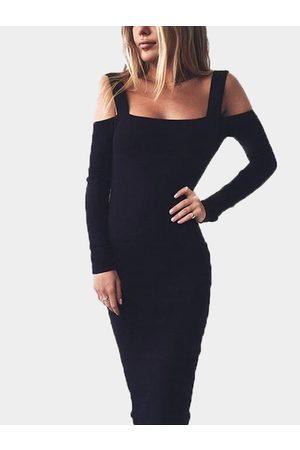 YOINS Long Sleeves Cold Shoulder Bodycon Midi Dress