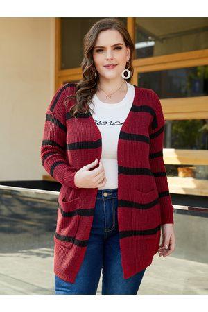 YOINS Plus Size Stripe Long Sleeves Cardigan