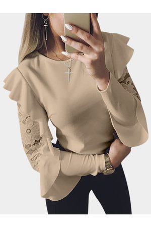 YOINS Lace Insert Round Neck Long Flounced Sleeves T-shirt