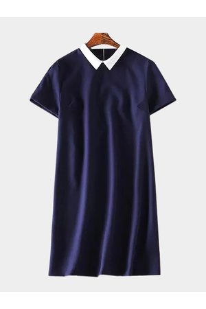 YOINS Navy Shirt Dress with Short Sleeves