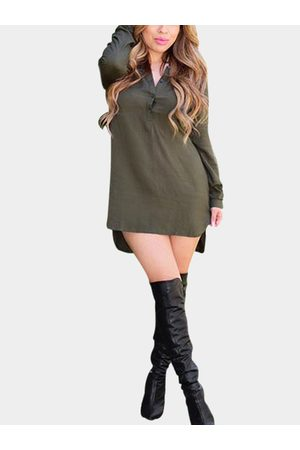 YOINS Olive Green Long Sleeve Shirt Dress with Step Hem