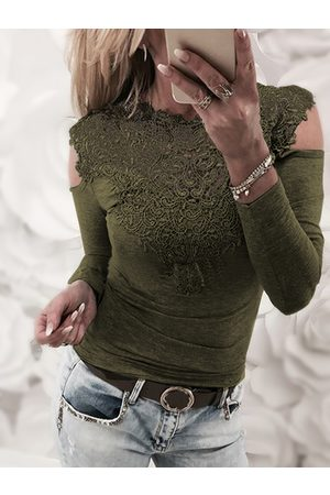 YOINS Army Lace Details Cold Shoulder Long Sleeves T-shirt