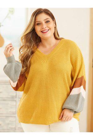 YOINS Plus Size Stripe V Neck Long Sleeves Sweater