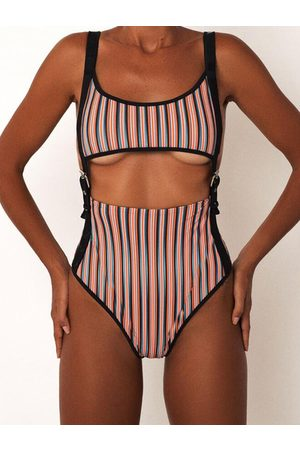 YOINS Colorful Stripe Front Belt Buckle Cutout Monokini