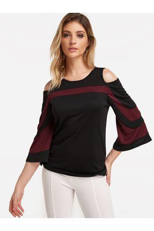 YOINS Stripe Cold Shoulder Long Sleeve Fashion Top