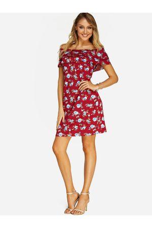 YOINS Red Random Floral Print Tiered Design Off The Shoulder Dress