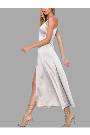 YOINS Silvery V-neck Sleeveless Slit Hem Maxi Dress