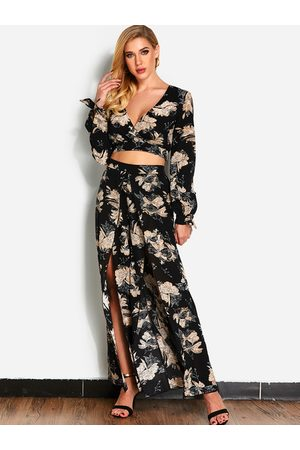 YOINS Random Floral Print Long Sleeves Top & Pants Set