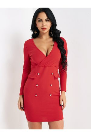 YOINS V-neck Bodycon Mini Dress