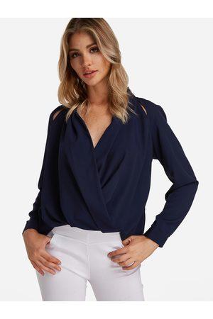 YOINS Crossed Front Design V-neck Long Sleeves Shirt