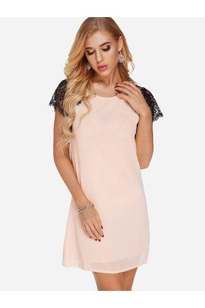 YOINS Crochet Lace Embellished Round Neck Short Sleeves Dress