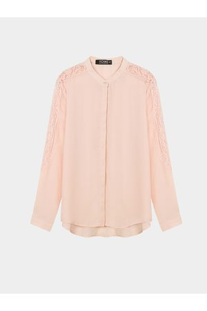 YOINS Sheer Long Sleeve Shirt with Lace Insert