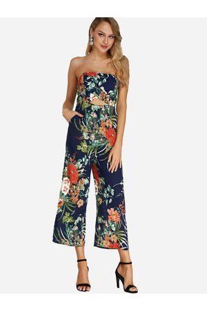 YOINS Random Floral Print Backless Design Off Shoulder Sleeveless Jumpsuit