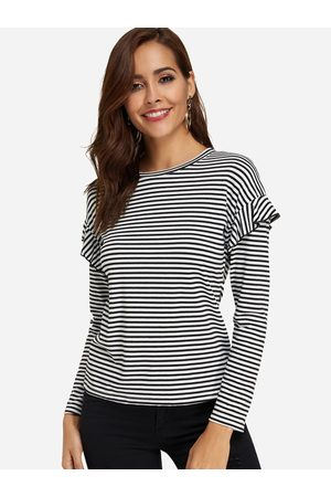 YOINS And White Stripe Pattern Flounced Details Long Sleeves T-shirt