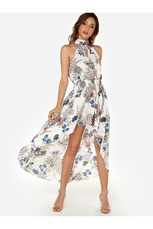 YOINS Random Floral Print Halter Sleeveless High-low Hem Maxi Dress