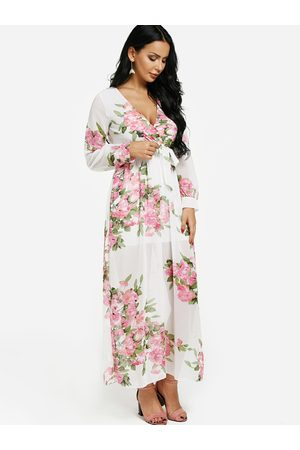 YOINS Random Floral Print Wrap V-neck Maxi Dress
