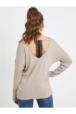 YOINS Khaki Backless Design Scoop Neck Lace Tee