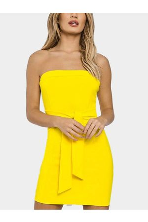 YOINS Strapless Tie-up Front Bodycon Mini Dress