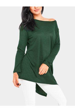 YOINS Slit Design One Shoulder Long Sleeves T-shirt
