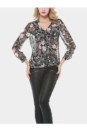 YOINS Floral Print V-neck Long Sleeves Chiffon Top