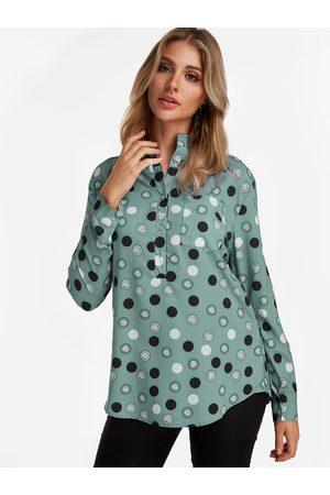 YOINS Button Design Polka Dot Lapel Collar Long Sleeves Shirt