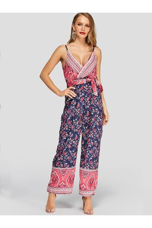 YOINS Tribal Print Crossed Collar Strap Jumpsuit with Belt