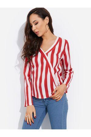 YOINS Crossed Front Design Stripe V-neck Long Sleeves Shirt