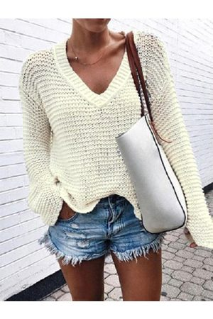 YOINS Knit V-neck Long Sleeves Sweater