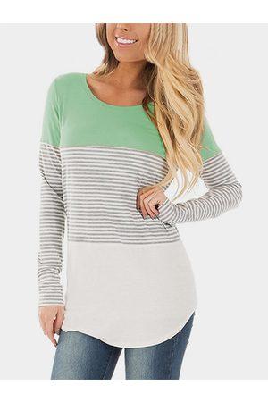 YOINS Stripe Round Neck Long Sleeves T-shirts