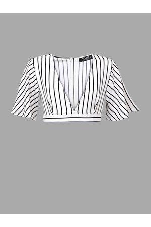 YOINS Plunge V-neck Stripe Crop Top with Belt