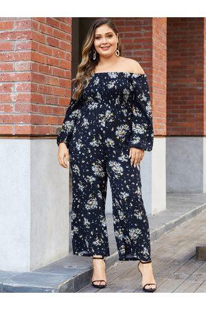 YOINS Plus Size Navy Wide Leg Random Floral Print Off The Shoulder Jumpsuit