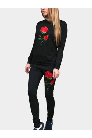 YOINS Side Pockets Rose Embroidered Crew Neck Long Sleeves Two Piece Outfits
