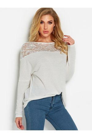 YOINS Lace Insert See Through Details Plain Round Neck Long Sleeves T-shirts