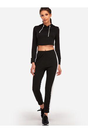 YOINS Hooded Stripe Fashion 2-piece Sport Tracksuit
