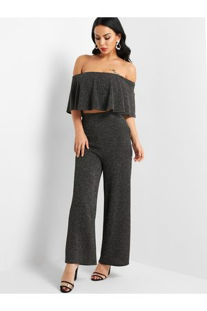 YOINS Metallic Shimmer Off-The-Shoulder Two Piece Outfits