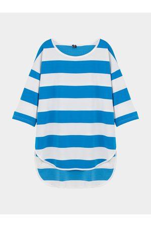 YOINS Oversized Striped Top with Dip Back Hem