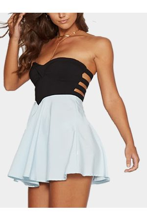 YOINS Strapless Mini Party Dress in Aqua