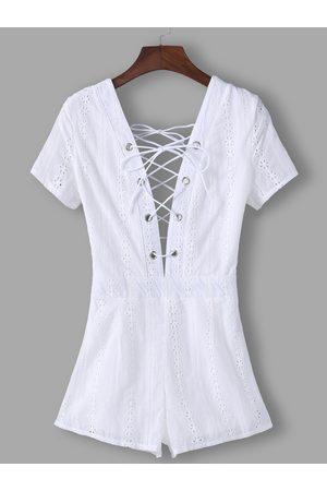 YOINS Lace Insert Plain Deep V Neck Short Sleeves High-waisted Playsuits