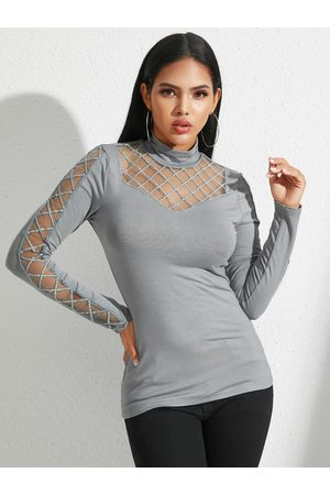 YOINS Grey Cut Out Crew Neck Long Sleeves Tee