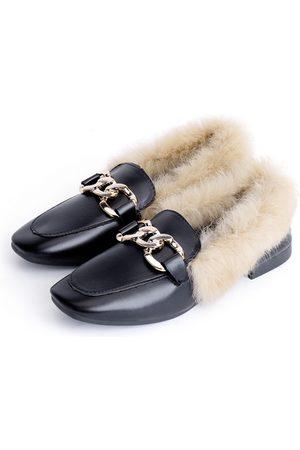 YOINS Buckle Decoration Fur Slip-on Loafers