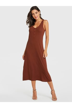 YOINS Rust Scoop Neck Button Design Sleeveless Dress