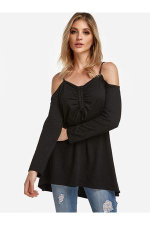 YOINS Lace-up Details Cold Shoulder Long Sleeves T-shirt