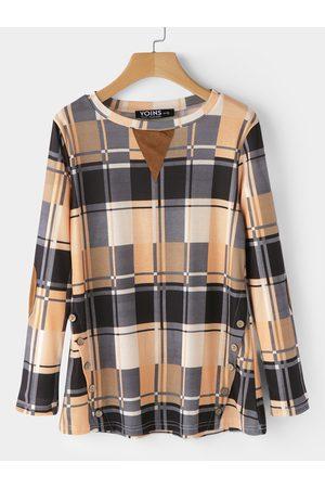 YOINS Buttons Grid Long Sleeves Fashion T-shirts