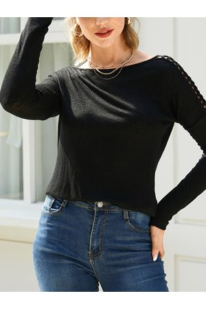 YOINS Black Cut Out Round Neck Long Sleeves Design Tee