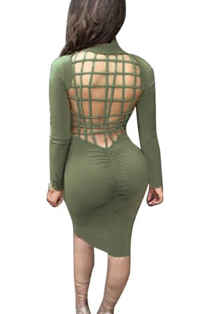 YOINS Army Green Hollow Back Midi Dress with Turtle Neck