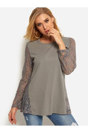 YOINS Lace Insert See Through Design Round Neck Long Sleeve T-shirt